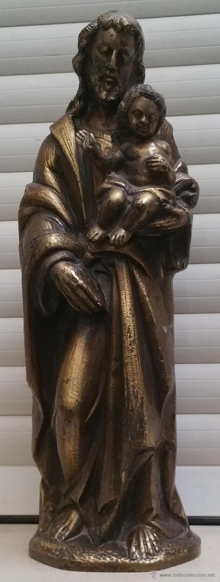 ANTIGUA Y ESPECTACULAR ESCULTURA DE BRONCE EN RELIEVE RELIGIOSA DE 36X13X7CM APROXIMADO. (Arte - Arte Religioso - Escultura)
