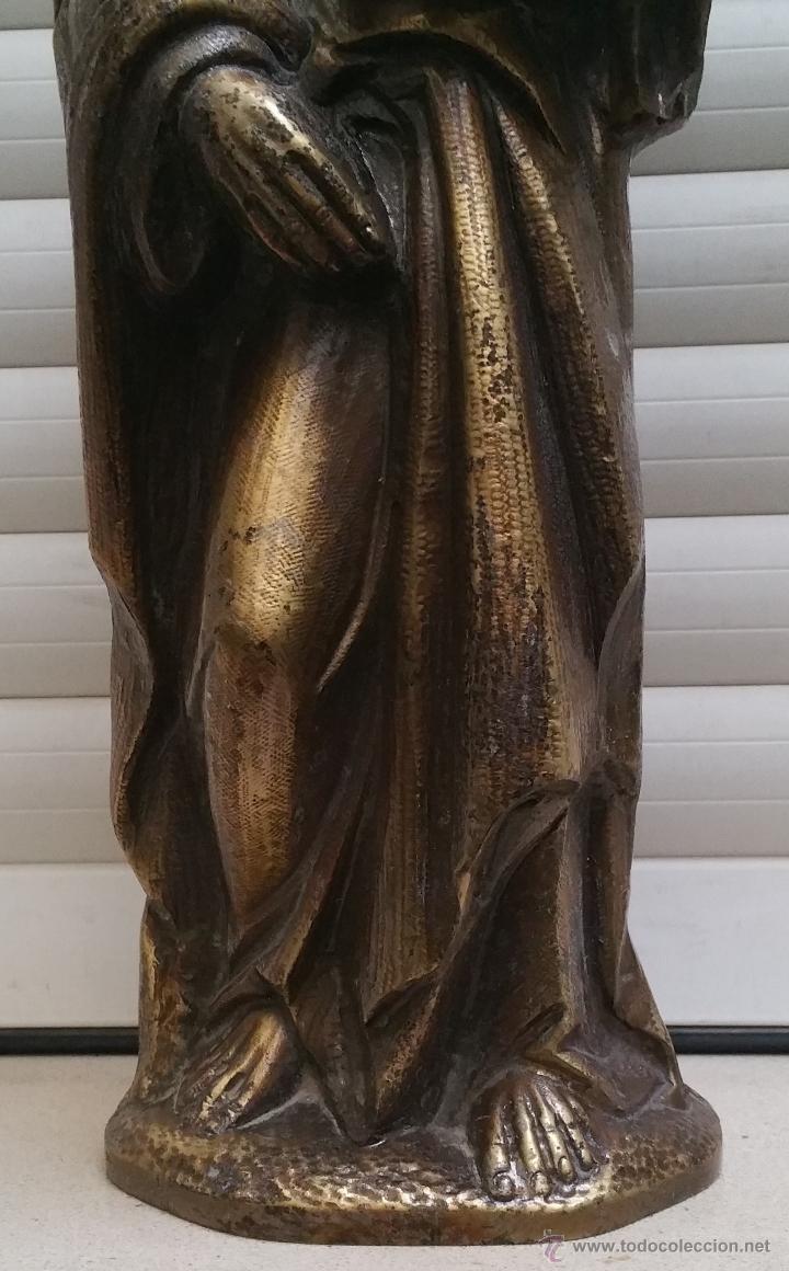 Arte: Antigua y espectacular escultura de bronce en relieve religiosa de 36x13x7cm aproximado. - Foto 5 - 53681124