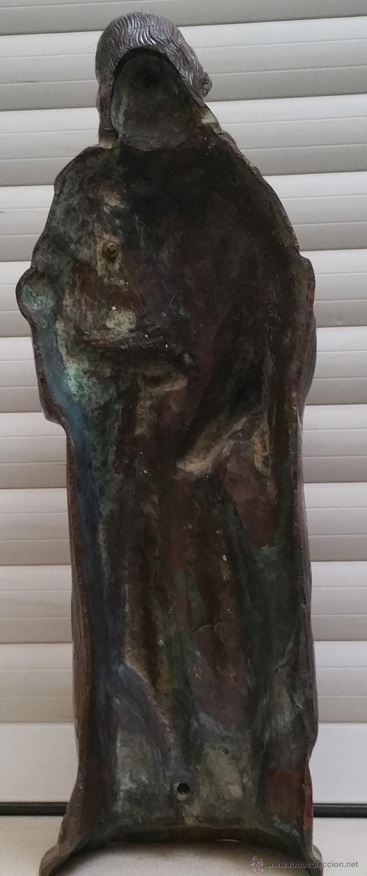 Arte: Antigua y espectacular escultura de bronce en relieve religiosa de 36x13x7cm aproximado. - Foto 7 - 53681124