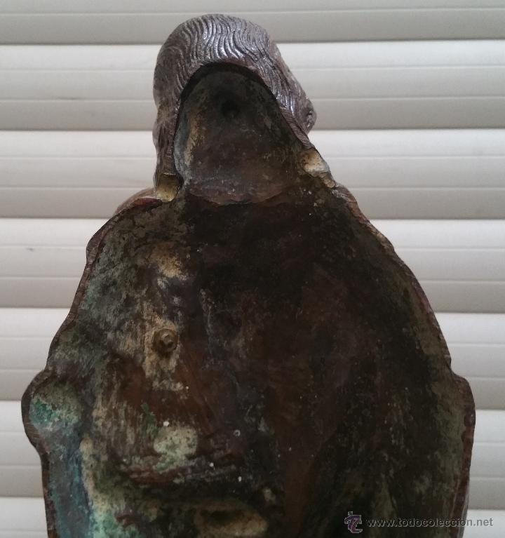 Arte: Antigua y espectacular escultura de bronce en relieve religiosa de 36x13x7cm aproximado. - Foto 8 - 53681124