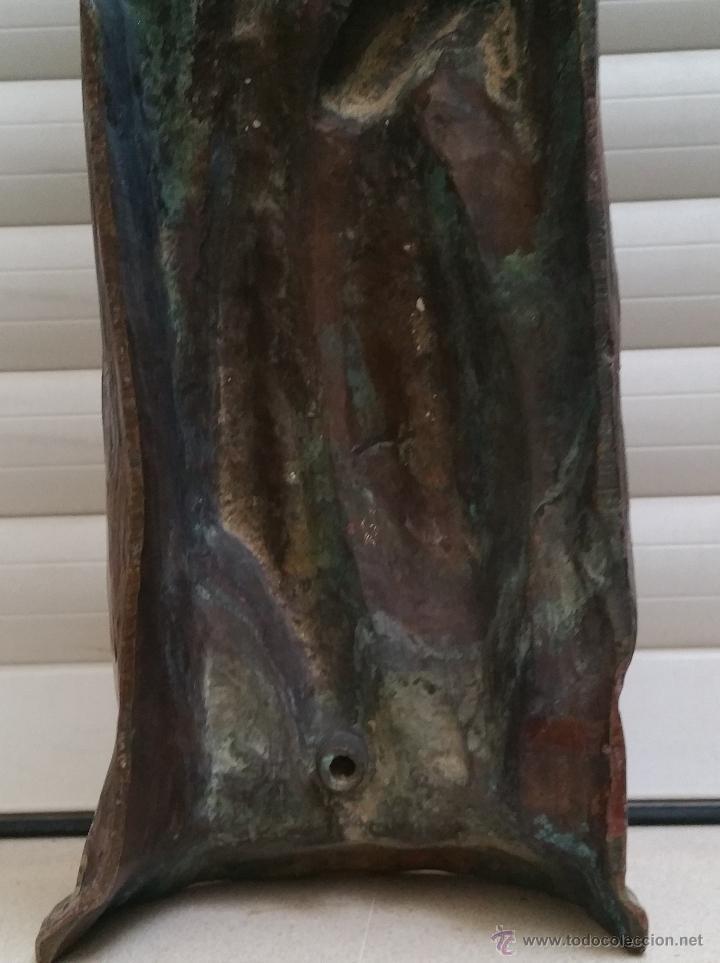 Arte: Antigua y espectacular escultura de bronce en relieve religiosa de 36x13x7cm aproximado. - Foto 9 - 53681124