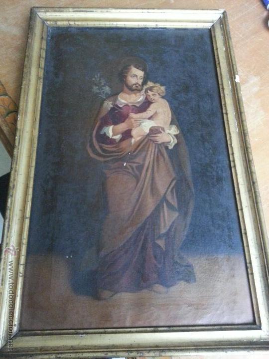 ANTIGUO PRECIOSO OLEO S XVIII PINTURA RELIGIOSA SAN JOSE Y NIÑO JESUS CON MARCO DE CAÑA ORO . 60 CM (Arte - Arte Religioso - Pintura Religiosa - Oleo)