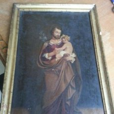 Arte: ANTIGUO PRECIOSO OLEO S XVIII PINTURA RELIGIOSA SAN JOSE Y NIÑO JESUS CON MARCO DE CAÑA ORO . 60 CM. Lote 53693231