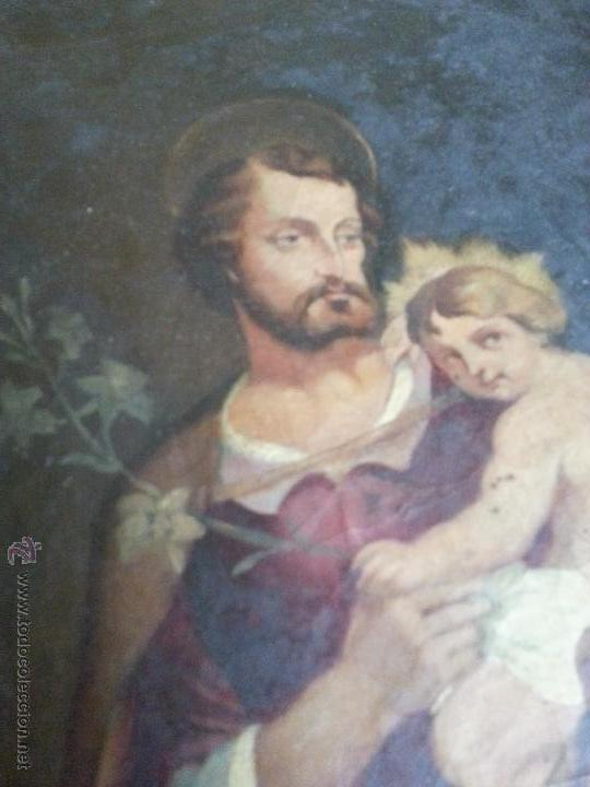 Arte: antiguo precioso oleo s xviii pintura religiosa san jose y niño jesus con marco de caña oro . 60 cm - Foto 3 - 187323930