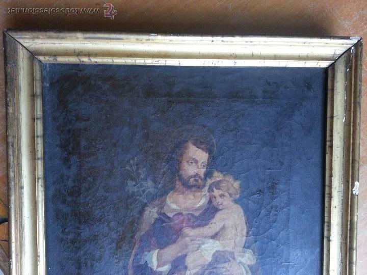 Arte: antiguo precioso oleo s xviii pintura religiosa san jose y niño jesus con marco de caña oro . 60 cm - Foto 4 - 187323930