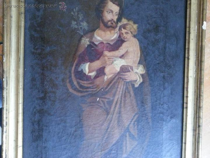 Arte: antiguo precioso oleo s xviii pintura religiosa san jose y niño jesus con marco de caña oro . 60 cm - Foto 5 - 187323930