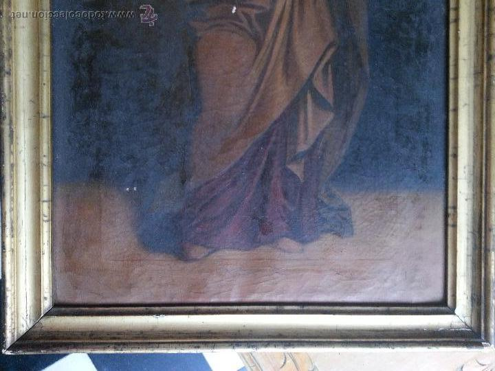 Arte: antiguo precioso oleo s xviii pintura religiosa san jose y niño jesus con marco de caña oro . 60 cm - Foto 6 - 187323930