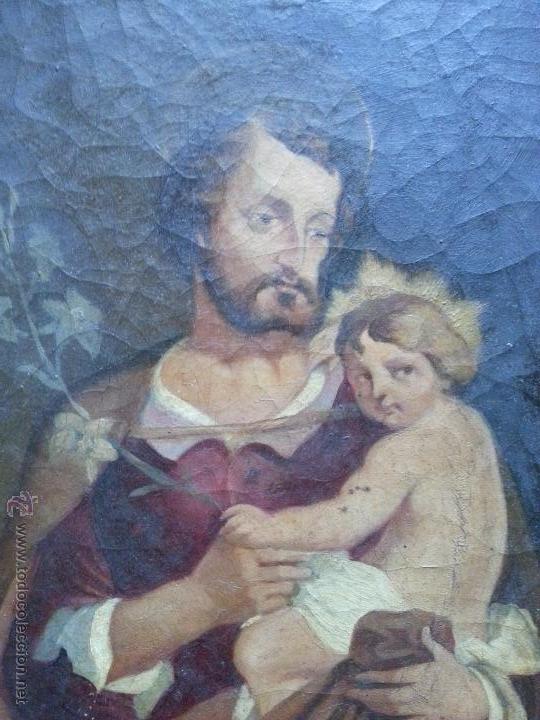 Arte: antiguo precioso oleo s xviii pintura religiosa san jose y niño jesus con marco de caña oro . 60 cm - Foto 9 - 187323930