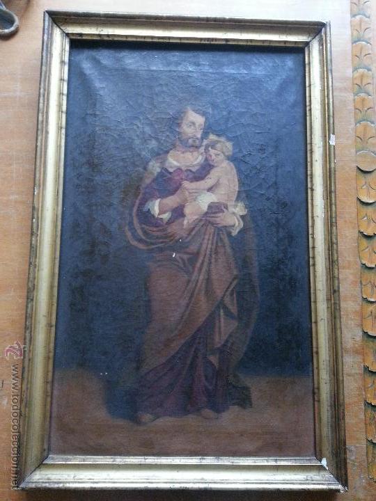 Arte: antiguo precioso oleo s xviii pintura religiosa san jose y niño jesus con marco de caña oro . 60 cm - Foto 10 - 187323930
