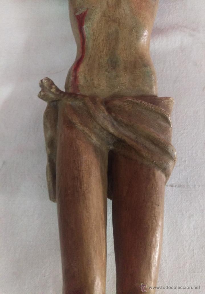 Arte: ANTIGUA TALLA ESCULTURA DE CRISTO . TALLADA EN MADERA Y POLICROMADA - Foto 6 - 53761917