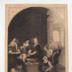Arte: SANTA ISABEL DE HUNGRÍA CURANDO A LOS TIÑOSOS - GRABADO RELIGIOSO - MARTÍNEZ APARISI 1876. Lote 53765500