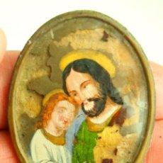 Arte: SAN JOSÉ Y JESÚS NIÑO. ESMALTE SOBRE CRISTAL. ESPAÑA. XIX.. Lote 53785364