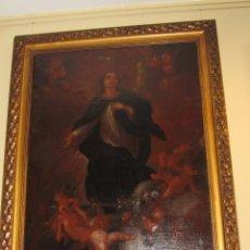 Arte: OLEO SOBRE LIENZO VIRGEN DE LA INMACULADA CON CORO DE ÁNGELES SIGLO XVIII. Lote 47153397