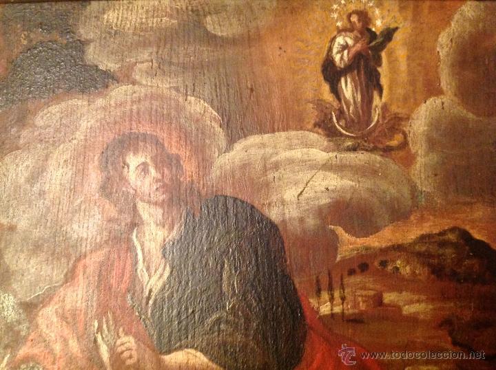 "Arte: oleo sobre tabla O Tabla.S XVIII ""El tema icinografico seria -- aparicion de la Virgen a S. Juan - Foto 5 - 53821546"