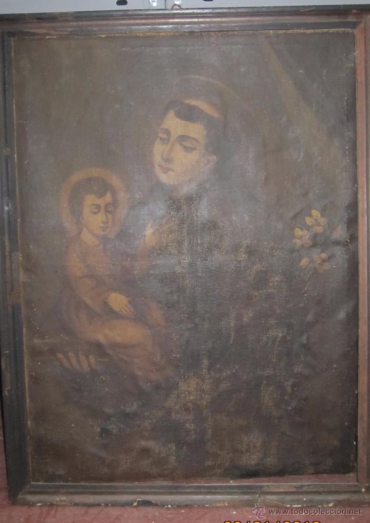 CUADRO SAN ANTONIO DE PADUA. 88,8 X 68,2 CM. CON MARCO. (Arte - Arte Religioso - Pintura Religiosa - Oleo)