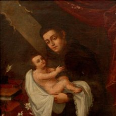 Arte: SAN ANTONIO CON NIÑO, 1,36 × 95 CM ( FUERA DE MARCO). Lote 53991051