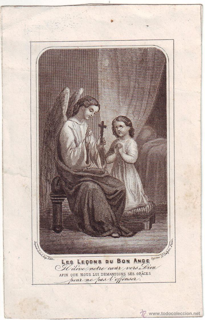 GRABADO SIGLO XIX RELIGIOSO LES LEÇON DU BON ANGE (Arte - Arte Religioso - Grabados)