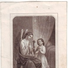 Arte: GRABADO SIGLO XIX RELIGIOSO LES LEÇON DU BON ANGE. Lote 54025168