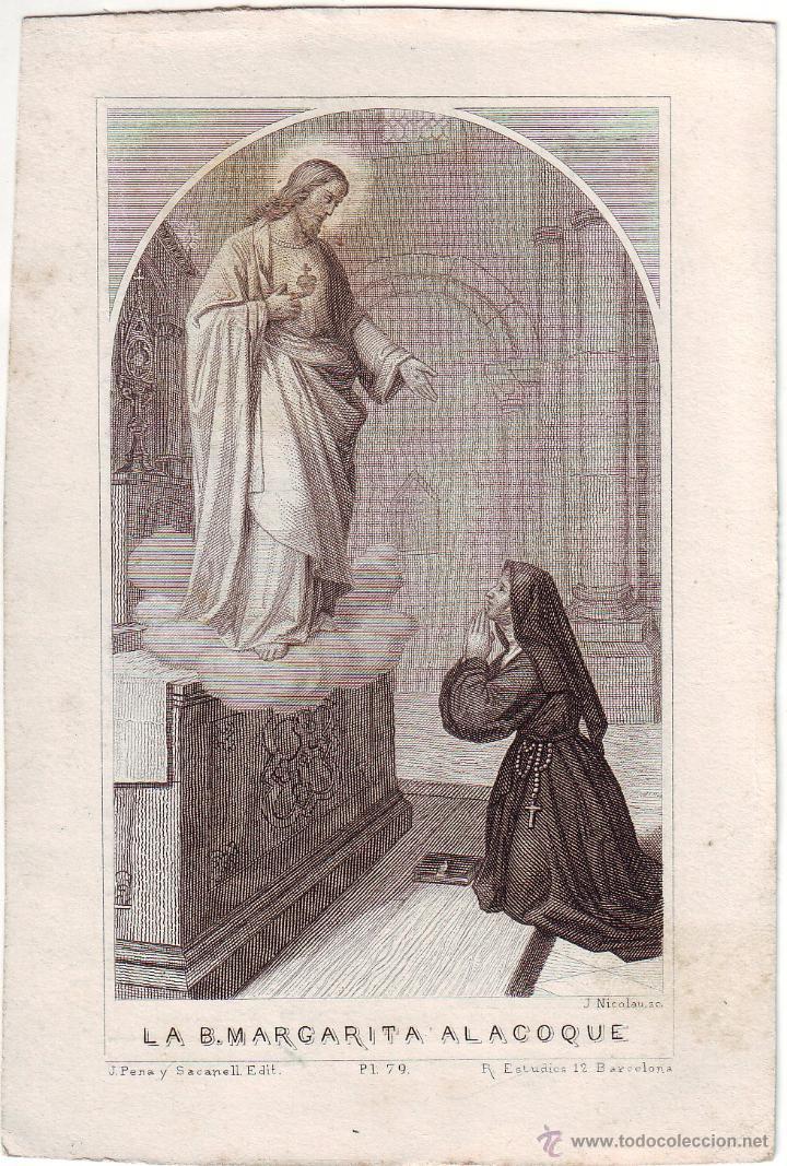 GRABADO SIGLO XIX RELIGIOSO LA BEATA MARGARITA AL.ACOQUE (Arte - Arte Religioso - Grabados)