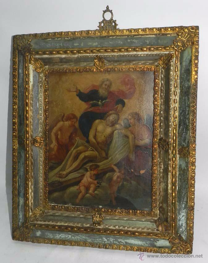 PINTURA OLEO SOBRE COBRE DE JESUCRISTO CON LOS ANGELES, SIGLO XVIII, CON ESPECTACULAR MARCO CON TRAB (Arte - Arte Religioso - Pintura Religiosa - Oleo)