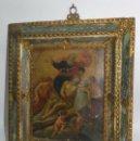 Arte: PINTURA OLEO SOBRE COBRE DE JESUCRISTO CON LOS ANGELES, SIGLO XVIII, CON ESPECTACULAR MARCO CON TRAB. Lote 54025849
