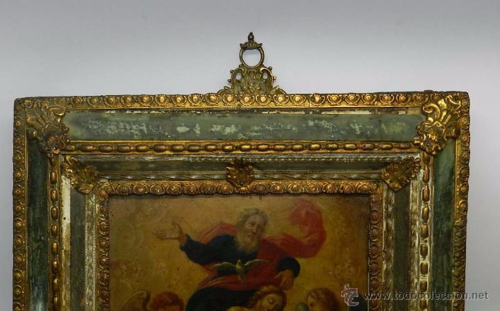 Arte: PINTURA OLEO SOBRE COBRE DE JESUCRISTO CON LOS ANGELES, SIGLO XVIII, CON ESPECTACULAR MARCO CON TRAB - Foto 3 - 54025849