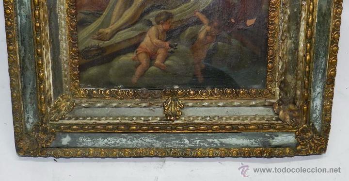 Arte: PINTURA OLEO SOBRE COBRE DE JESUCRISTO CON LOS ANGELES, SIGLO XVIII, CON ESPECTACULAR MARCO CON TRAB - Foto 4 - 54025849