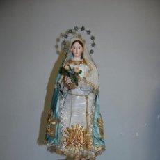 Arte: ESCULTURA CAP I POTA VIRGEN DE LA INMACULADA S. XIX CON URNA CRISTAL. Lote 54090905