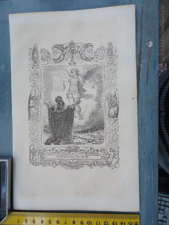 REF: KK - AÑO 1852 ORIGINAL GRABADO DE LA EPOCA RELIGIOSO - LA APARICION DE SAN MIGUEL ARCANGEL (Arte - Arte Religioso - Grabados)
