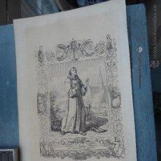 Arte: REF: KK - AÑO 1852 ORIGINAL GRABADO DE LA EPOCA RELIGIOSO - SAN PASCUAL BAILON CONFESOR. Lote 159057374