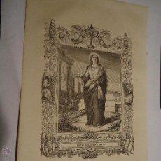 Arte: REF: KK - AÑO 1853 ORIGINAL GRABADO DE LA EPOCA RELIGIOSO - SANTA LUCIA VIRGEN Y MARTIR. Lote 54214142