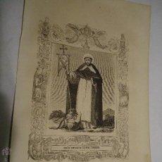 Arte: REF: KK - AÑO 1853 ORIGINAL GRABADO DE LA EPOCA RELIGIOSO - SANTO DOMINGO DE GUZMAN FUNDADOR. Lote 54215765
