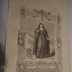 Arte: REF: KK - AÑO 1853 ORIGINAL GRABADO DE LA EPOCA RELIGIOSO - SANTA CLARA VIRGEN. Lote 54215891