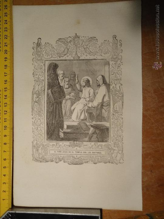REF: KK - AÑO 1854 ORIGINAL GRABADO DE LA EPOCA RELIGIOSO - NIÑO JESUS EN EL TEMPO DE LOS DOCTORES (Arte - Arte Religioso - Grabados)