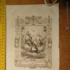 Arte: REF: KK - AÑO 1854 ORIGINAL GRABADO DE LA EPOCA RELIGIOSO - CRISTO - LA SANTISIMA TRINIDAD. Lote 54275504