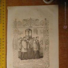 Arte: REF: KK - AÑO 1854 ORIGINAL GRABADO DE LA EPOCA RELIGIOSO - ALABADO SEA EL SANTISIMO SACRAMENTO. Lote 54275511