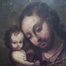Arte: PINTURA OLEO, COBRE, SANT JOSE Y EL NIÑO JESUS, SIGLO XVII, 19X25CM SIN ENMARCAR, ESCUELA SEVILLANA. Lote 48455650