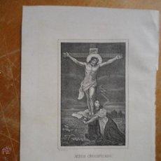 Arte: AÑO 1902 ANTIGUO GRABADO CRISTO CRUCIFICADO VIRGEN O MAGDALENA A LOS PIES . Lote 54346370