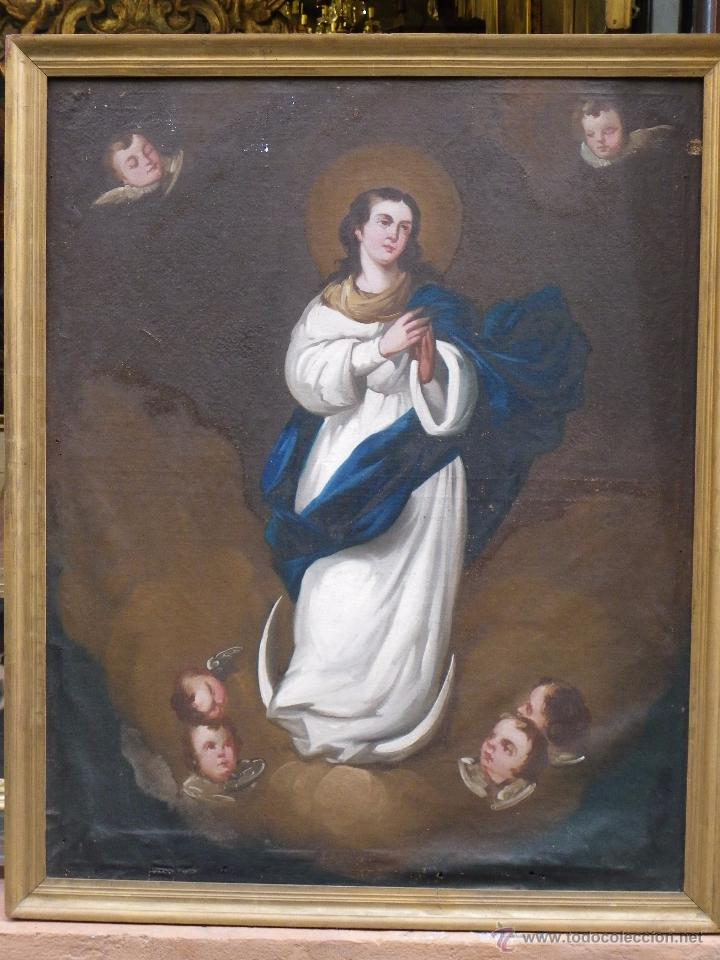INMACULADA CONCEPCIÓN ÓLEO/LIENZO SIGLO XIX (Arte - Arte Religioso - Pintura Religiosa - Oleo)