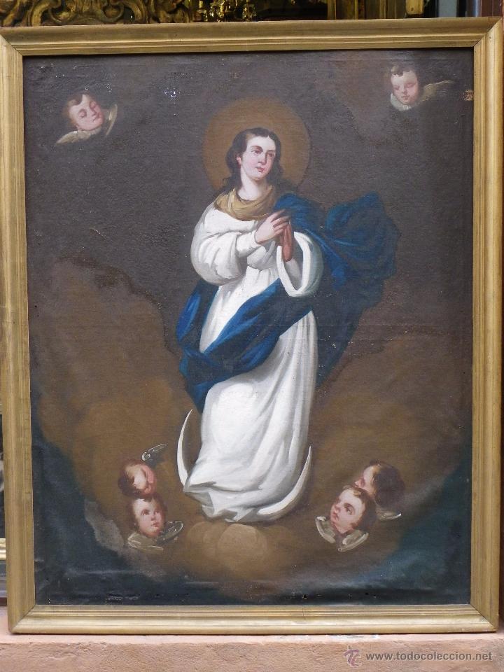 Arte: Inmaculada Concepción óleo/lienzo siglo XIX - Foto 2 - 54532536