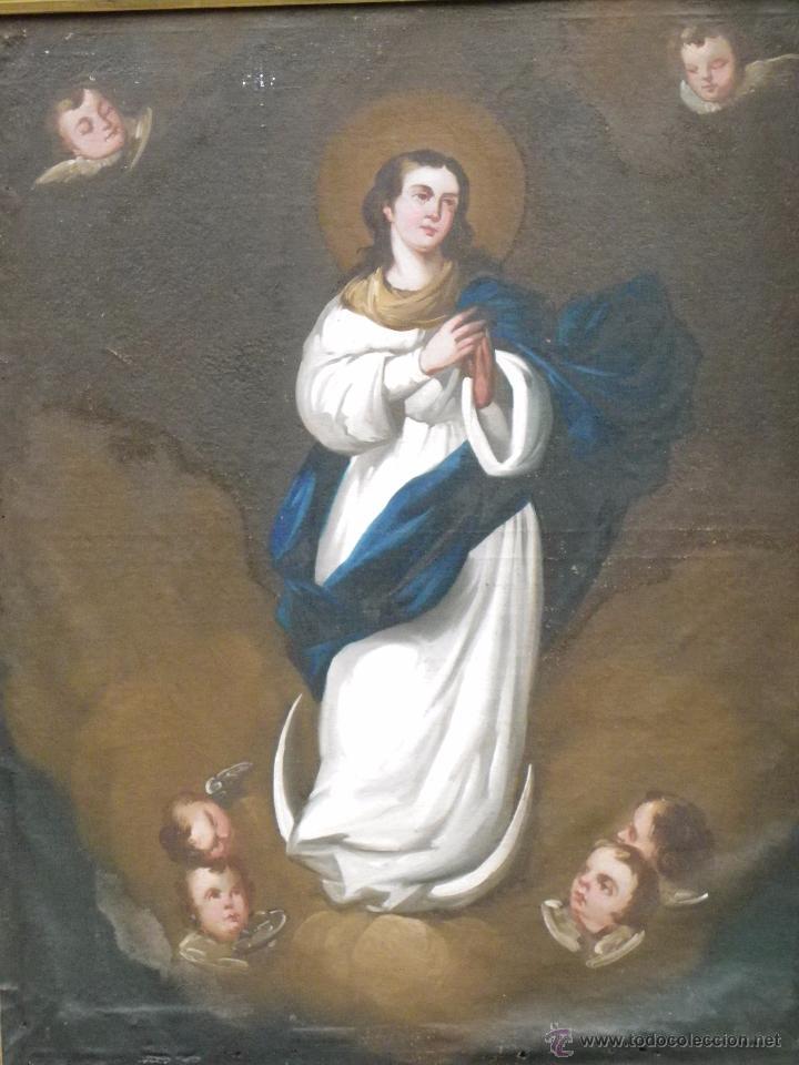 Arte: Inmaculada Concepción óleo/lienzo siglo XIX - Foto 3 - 54532536