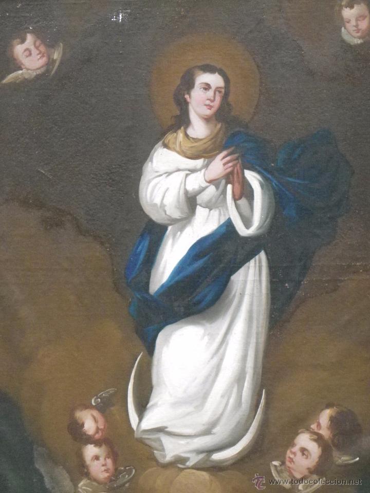 Arte: Inmaculada Concepción óleo/lienzo siglo XIX - Foto 4 - 54532536