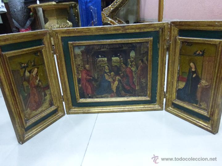 ANTIGUO TRÍPTICO PLEGABLE EN MADERA PARA PEQUEÑO ALTAR. CON IMÁGENES DE LA NATIVIDAD DE JESÚS (Arte - Arte Religioso - Trípticos)