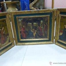 Arte: ANTIGUO TRÍPTICO PLEGABLE EN MADERA PARA PEQUEÑO ALTAR CON IMÁGENES DE LA NATIVIDAD DE JESÚS. Lote 108291920