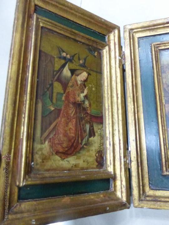 Arte: ANTIGUO TRÍPTICO PLEGABLE EN MADERA PARA PEQUEÑO ALTAR. CON IMÁGENES DE LA NATIVIDAD DE JESÚS - Foto 6 - 108291920