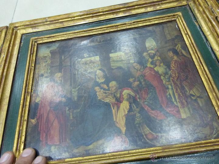 Arte: ANTIGUO TRÍPTICO PLEGABLE EN MADERA PARA PEQUEÑO ALTAR. CON IMÁGENES DE LA NATIVIDAD DE JESÚS - Foto 7 - 108291920