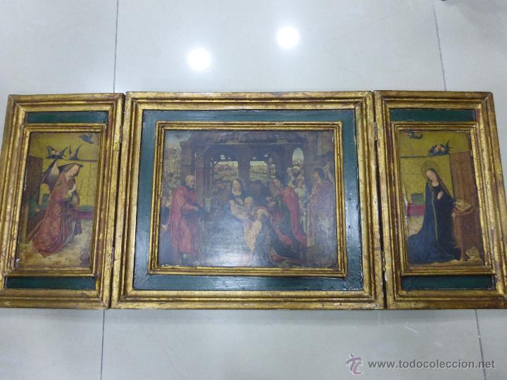 Arte: ANTIGUO TRÍPTICO PLEGABLE EN MADERA PARA PEQUEÑO ALTAR. CON IMÁGENES DE LA NATIVIDAD DE JESÚS - Foto 9 - 108291920