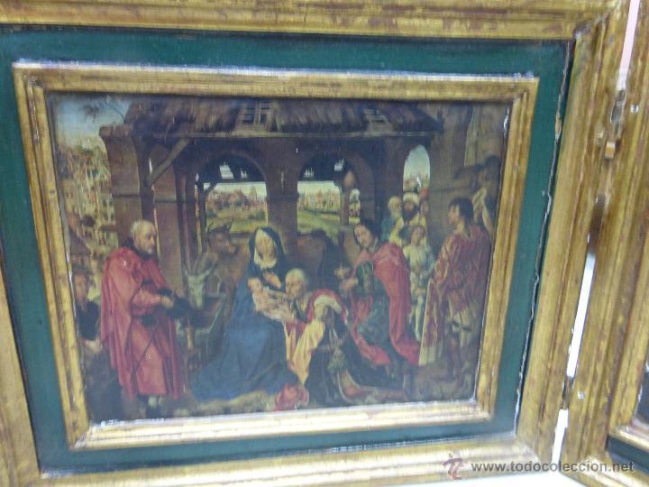 Arte: ANTIGUO TRÍPTICO PLEGABLE EN MADERA PARA PEQUEÑO ALTAR. CON IMÁGENES DE LA NATIVIDAD DE JESÚS - Foto 11 - 108291920