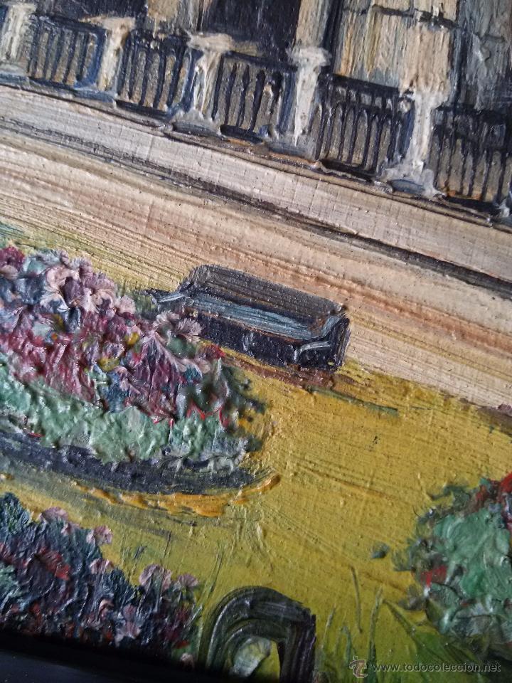 Arte: ÓLEO ANTIGUO SOBRE TABLA-CATEDRAL DE LEÓN CON RELIEVE-FIRMADO-MARCO LABRADO-A MANO - Foto 5 - 54579101