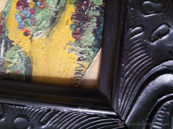 Arte: ÓLEO ANTIGUO SOBRE TABLA-CATEDRAL DE LEÓN CON RELIEVE-FIRMADO-MARCO LABRADO-A MANO - Foto 6 - 54579101